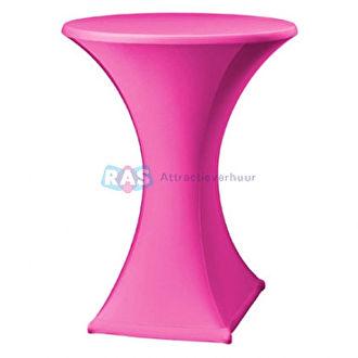 Roze statafelhoes huren. Statafelhoezen met of zonder statafel in diverse kleuren te huren.